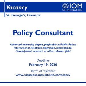 Vacancy - Policy Consultant, Grenada